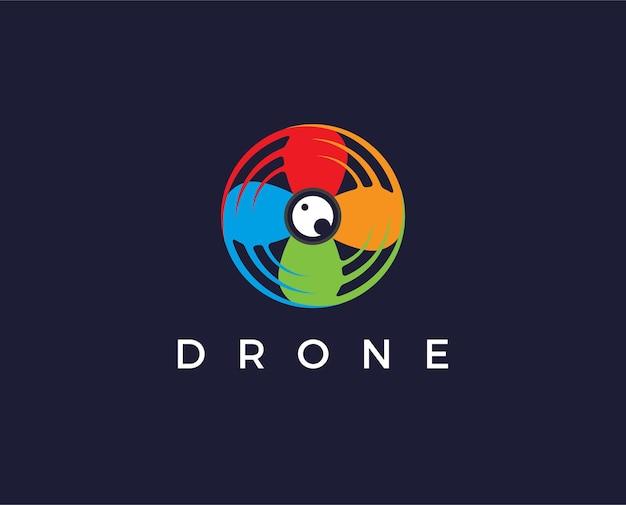 Icona del modello logo drone. fotografia drone vettoriale. icona del quadricottero