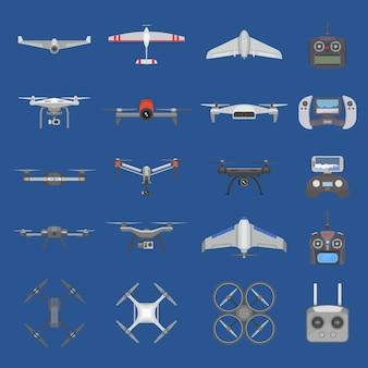 Drone quadcopter tecnologia e volo in elicottero aereo con telecomando con fotocamera digitale illustrazione set di elicottero spia spia robot con elica quadrocopter isolato su sfondo