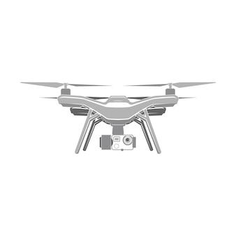 Drone quadrocopter wireless fly fotocamera segno vettoriale