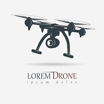 Drone con action camera, immagine quadrocopter, emblema di attrezzatura video aerea