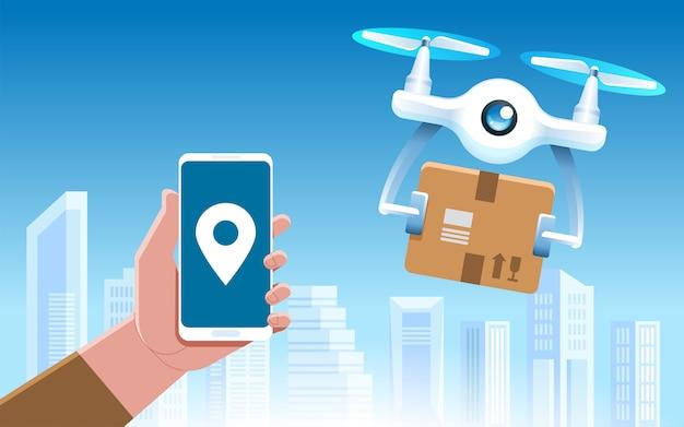 Drone con una scatola