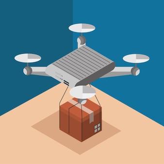 Drone con scatola di consegna