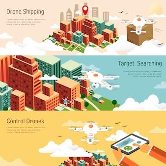 Applicazioni di droni in diversi campi nel design piatto