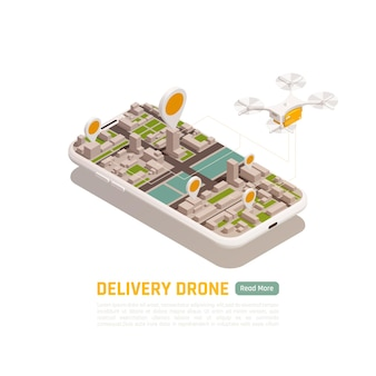 Illustrazione isometrica di droni quadricotteri con edifici della città all'interno del telaio dello smartphone con quadricottero volante