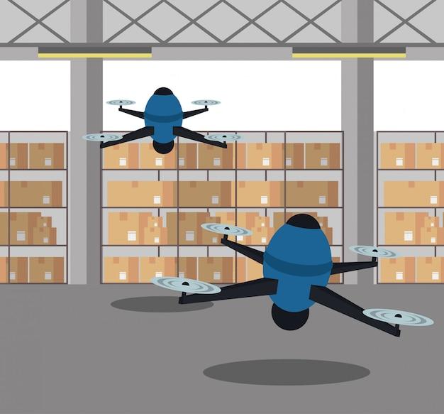 Droni nel cartone animato magazzino