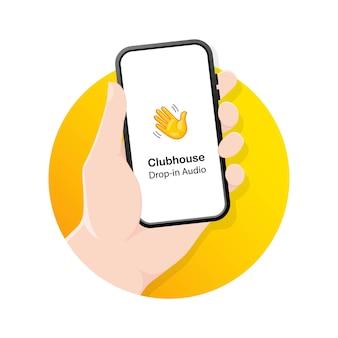 Rilascia audio. chat audio del clubhouse. mani con i telefoni.