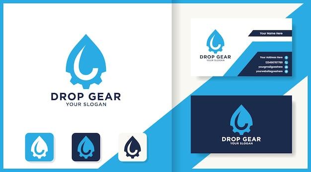 Design del logo e biglietto da visita dell'ingranaggio di goccia