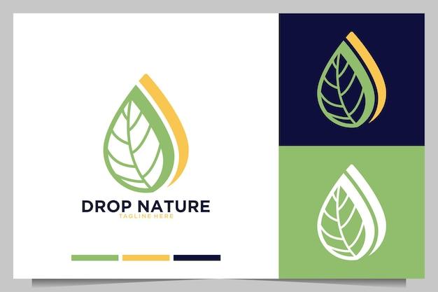 Lascia cadere la natura con il design del logo a foglia