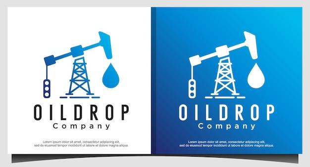 Goccia di progettazione del logo di trivellazione petrolifera
