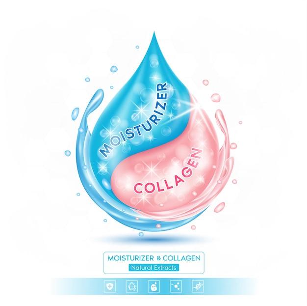 Goccia soluzione di collagene rosa siero e idratante blu su sfondo bianco