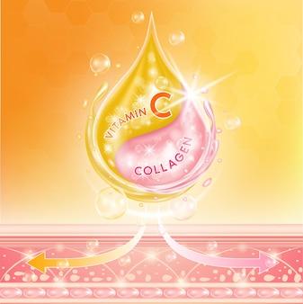 Goccia soluzione di collagene rosa siero e vitamina c orange arancione