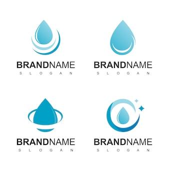 Modello di progettazione del logo con goccia d'acqua