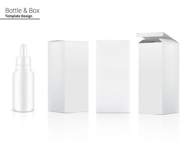 Un cosmetico realistico della bottiglia del contagocce e un lato di 3 scatole per merce essenziale o medicina di skincare sull'illustrazione bianca del fondo. concetto di assistenza sanitaria, medica e scientifica.