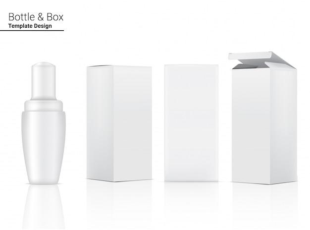 Cosmetico realistico e scatola della bottiglia del contagoccia per l'illustrazione del prodotto di cura della pelle. assistenza sanitaria e concetto medico.
