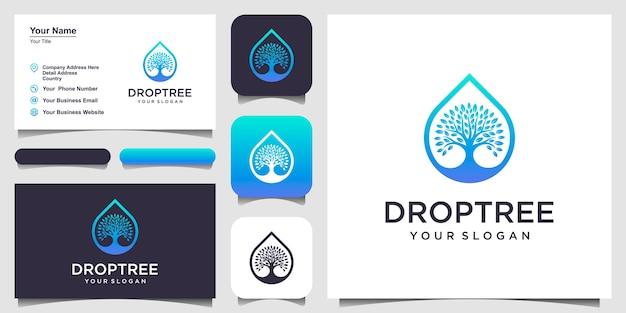 Gocce o acqua combinate con l'albero. design del logo e biglietto da visita
