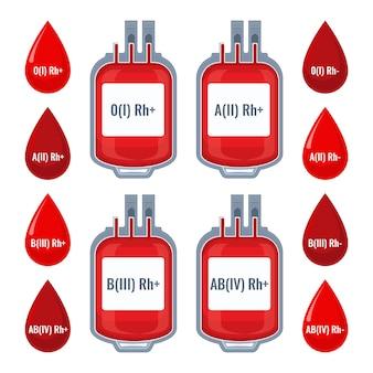 Gocce con gruppi sanguigni tipizzati e icone dei sacchetti di plastica del servizio di donazione dei donatori