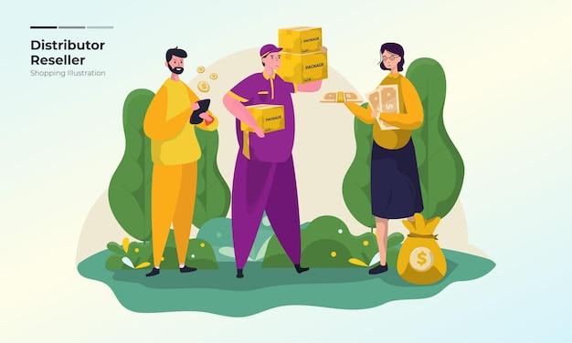 Illustrazione del rivenditore dropshipper o distributore per il concetto di shopping online