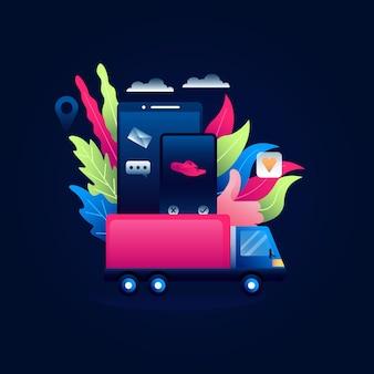 Illustrazione di concetto di dropshipping di acquisto online dal contenitore di automobile sul cellulare