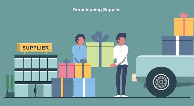 Illustrazione vettoriale del fornitore dropshipping spedizione del prodotto dal magazzino al cliente f