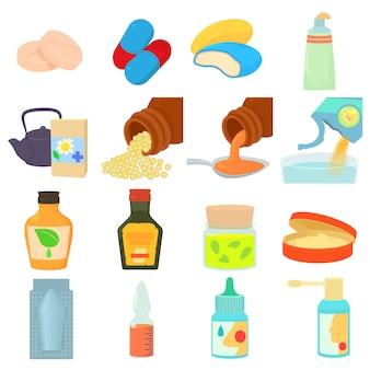 Set di icone di tipi di farmaci