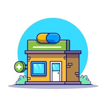 Cartone animato edificio farmacia