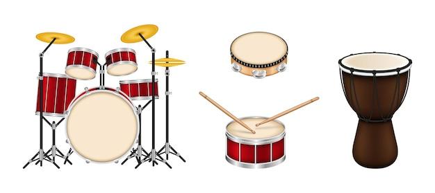 Collezione di strumenti musicali a tamburo
