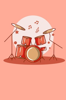 Illustrazione del fumetto del set di batteria