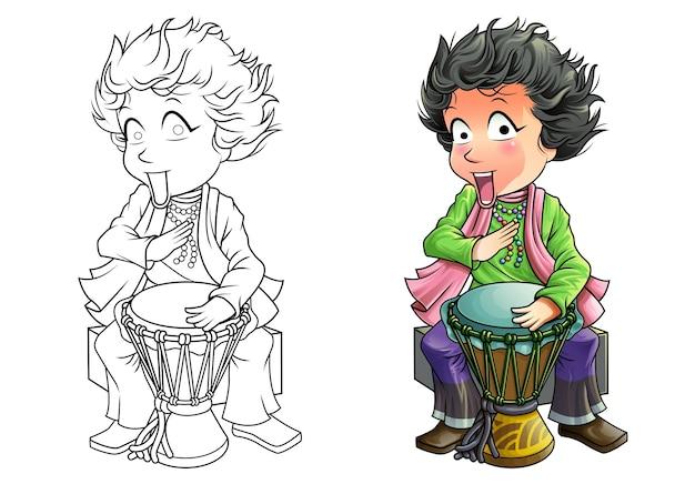 Pagina da colorare di batterista del fumetto per i bambini