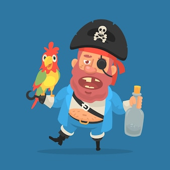 Pirata ubriaco che tiene pappagallo e bottiglia di rum. personaggio divertente. illustrazione vettoriale
