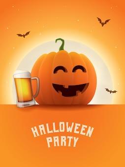 Zucca ubriaca con boccale di birra manifesto della festa di halloween luna splendente sfondo arancione