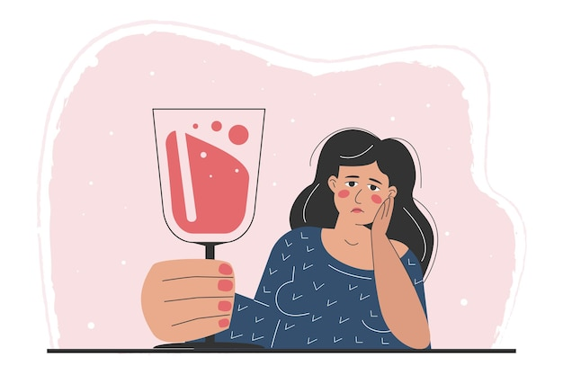 Una donna ubriaca con in mano un gigantesco bicchiere di vino