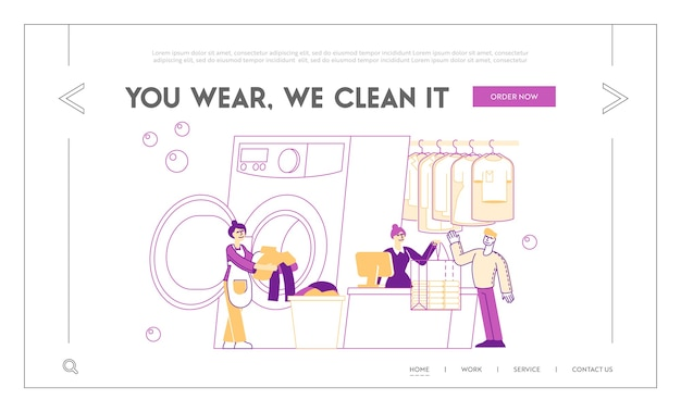 Modello di pagina di destinazione del servizio di lavaggio a secco