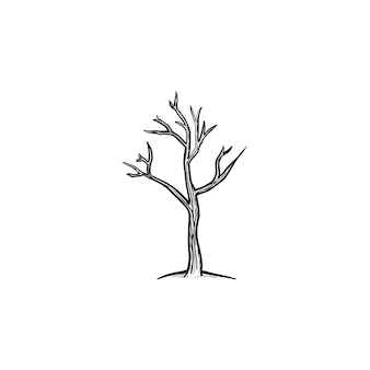 Icona di doodle di contorni disegnati a mano albero secco. illustrazione di schizzo di vettore di riscaldamento globale con albero secco per stampa, web, mobile e infografica isolato su priorità bassa bianca.