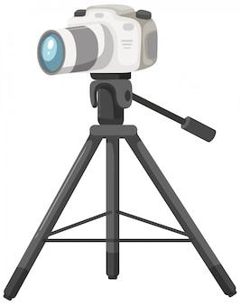 Una fotocamera dslr su sfondo bianco