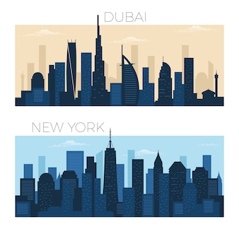Skyline di dubai e new york city