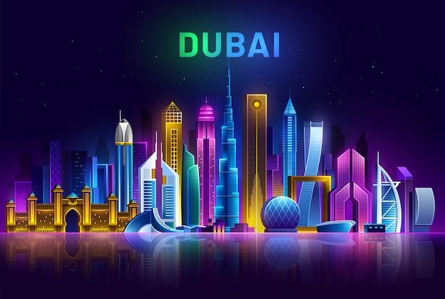Skyline di dubai paesaggio urbano futuristico degli emirati arabi uniti illuminato da luci al neon