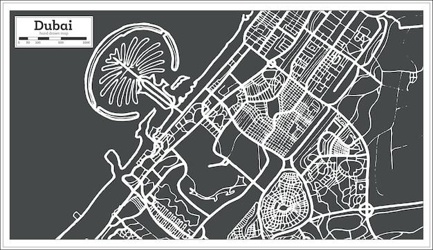Mappa di dubai emirati arabi uniti in stile retrò. illustrazione di vettore.