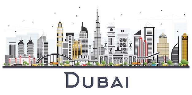 Dubai emirati arabi uniti skyline con edifici grigi isolati su sfondo bianco. illustrazione di vettore. illustrazione di viaggi d'affari e turismo con architettura moderna.