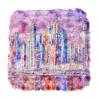 Illustrazione disegnata a mano di schizzo dell'acquerello di dubai emirati arabi uniti