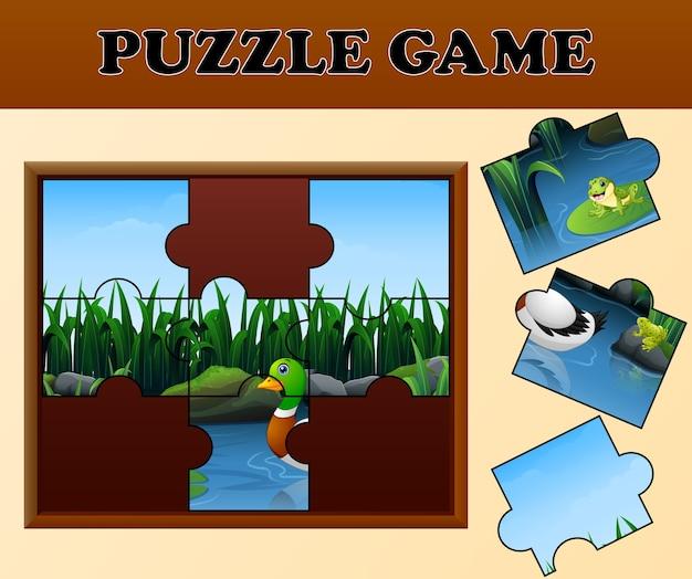 Fumetto dell'anatra e della rana con il concetto di puzzle