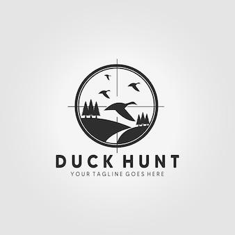 Disegno dell'illustrazione di vettore del logo della fauna selvatica della caccia all'anatra icona dell'emblema dell'annata