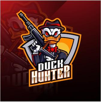 Logo della mascotte esport duck hunter