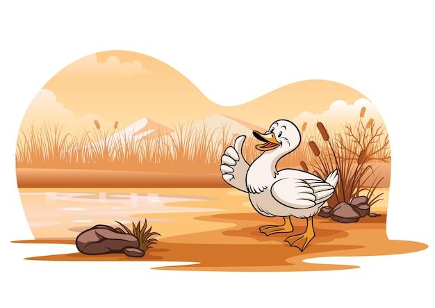Anatra al lago in stile cartone animato