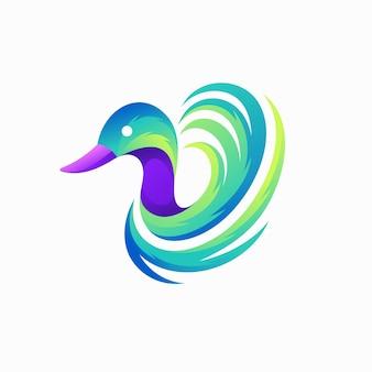Logo anatra con concetto di colore sfumato