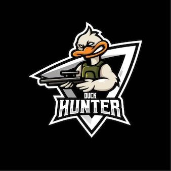 Disegno del logo mascotte anatra. il cacciatore di anatre porta una pistola per la squadra di e-sport