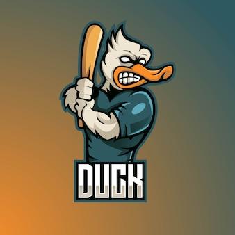 Design del logo mascotte anatra con stile moderno concetto di illustrazione per la stampa di badge, emblemi e magliette. l'anatra porta una mazza da baseball