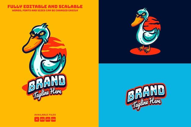 Testo modificabile del logo delle mascotte dell'anatra