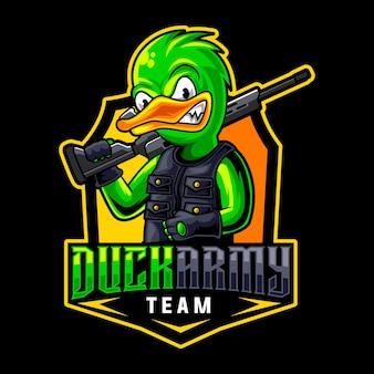 Logo mascotte cecchino anatra per esport e squadra sportiva