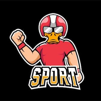 Duck sport e logo mascotte di gioco esport
