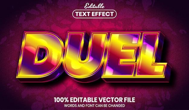 Testo del duello, effetto di testo modificabile in stile arcobaleno di caratteri